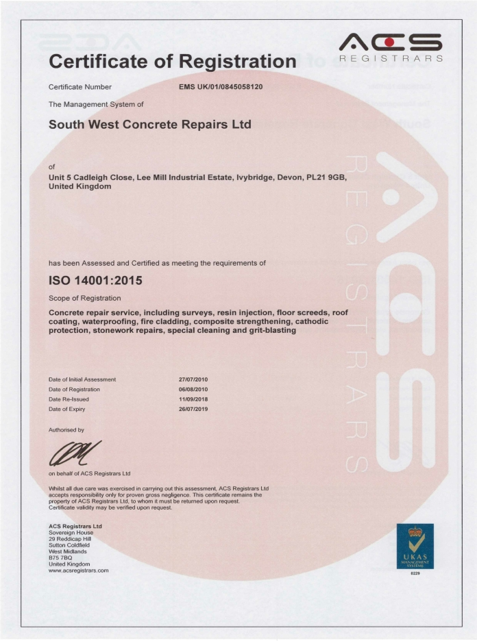Certificate achievement accreditation registration ISO 14001