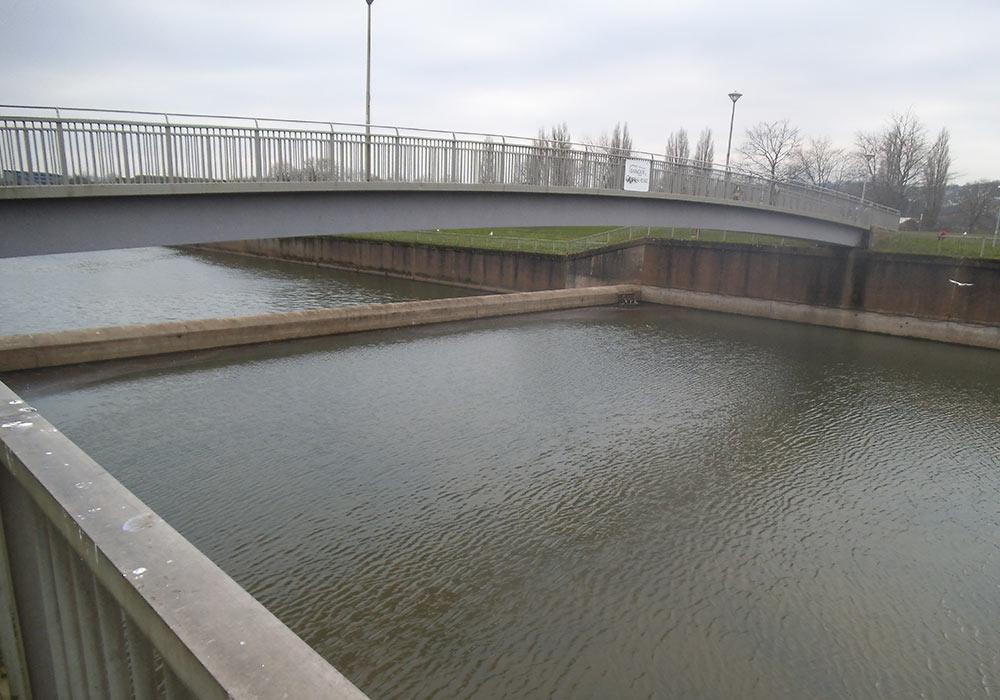 Concrete river bridge