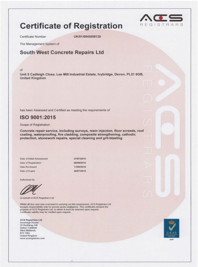 certification of achievements ISO 9001 SWCR