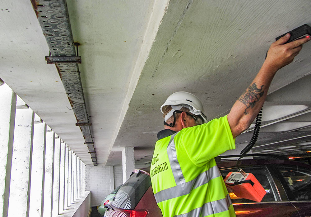 concrete repairs ceiling car park work