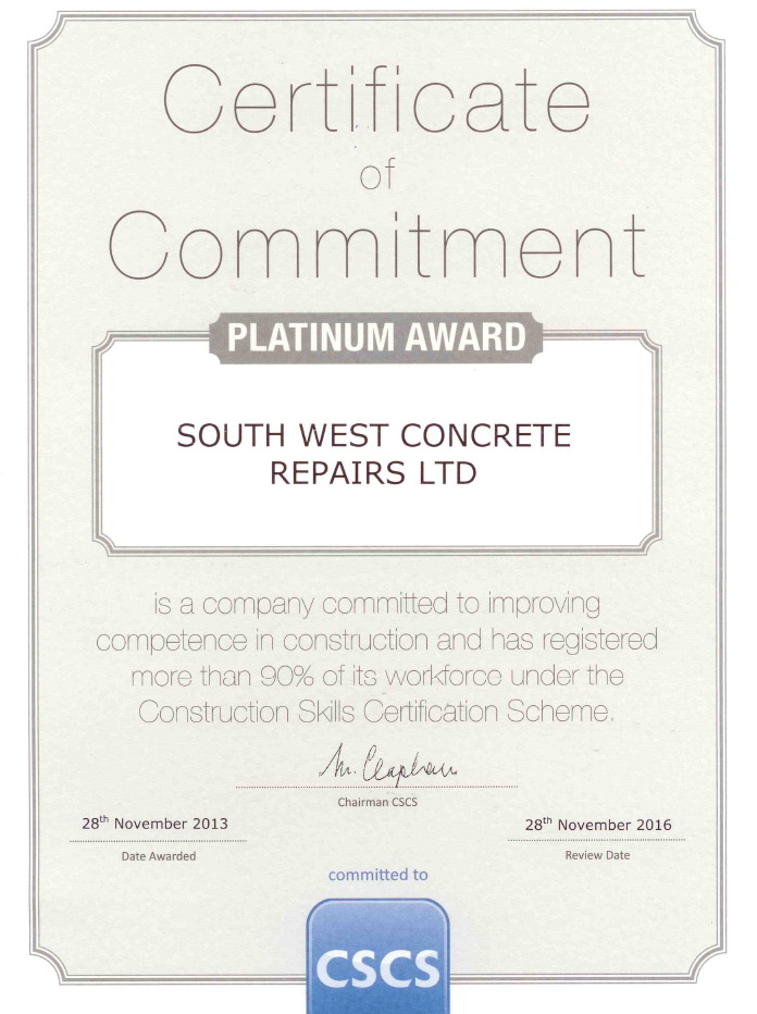 certificate commitment CSCS platinum award concrete repairs south west
