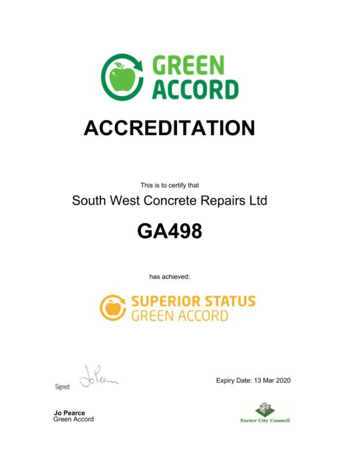 green accord environmental awareness south west concrete accreditation repairs