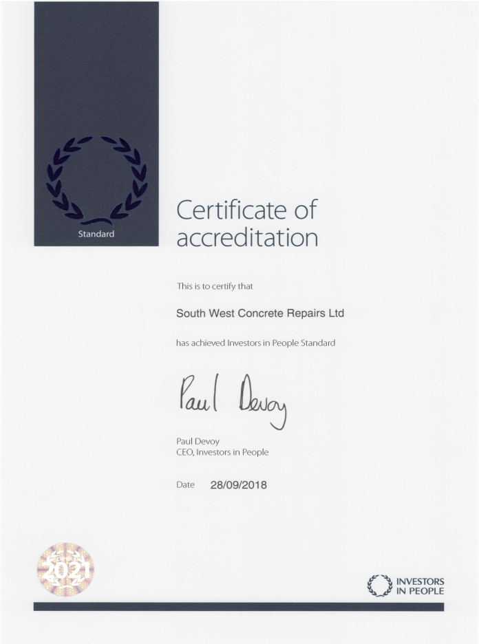 training certificate accreditation south west concrete