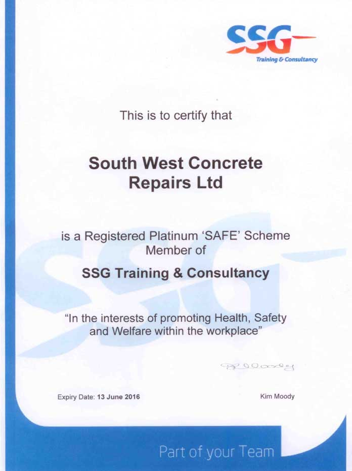 SSG training south west concrete certificate achievement membership