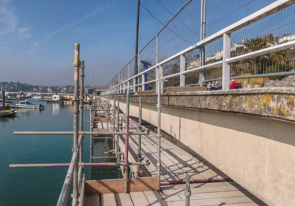 scaffold sea front plymouth south west concrete repairs