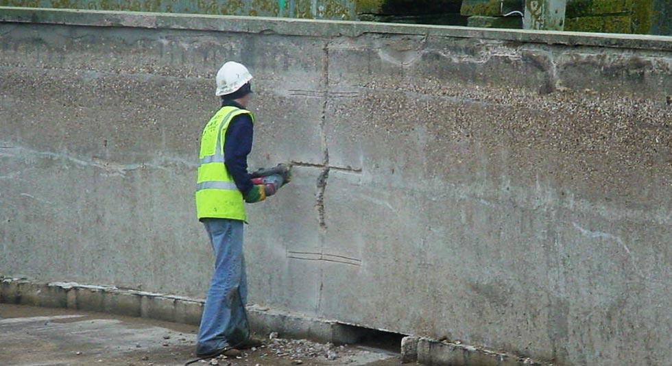 Man repairing concrete