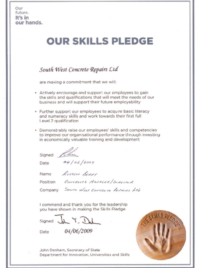 skills pledge training south west concrete
